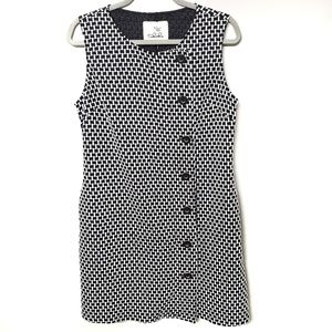 Tabitha Black & White Knit Mod Button Shift Dress